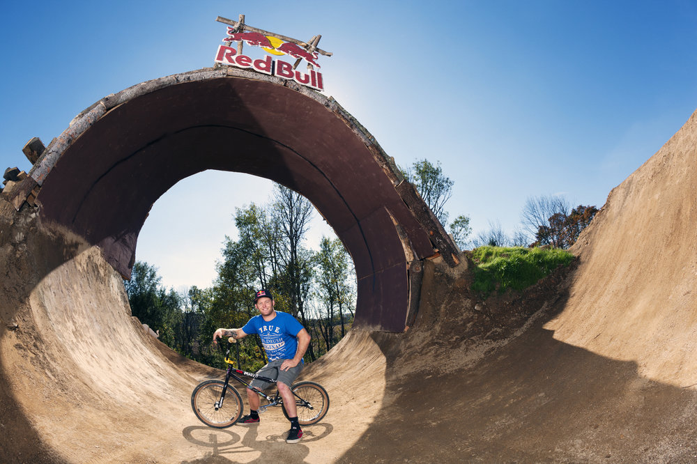 "Mike ""Hucker"" Clark poses for a portrait beneath the loop at Red Bull Trail Loop, in Fogelsville, PA, USA, on 15 October, 2013."